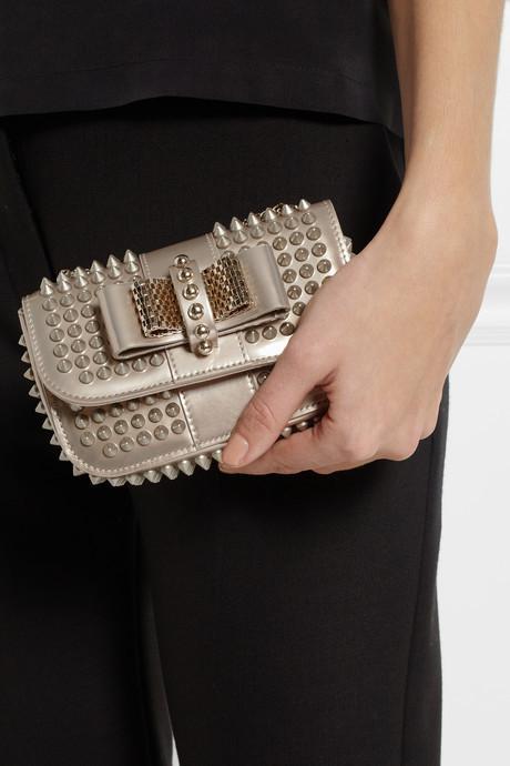 Christian Louboutin Sweety Charity mini spiked metallic leather shoulder bag