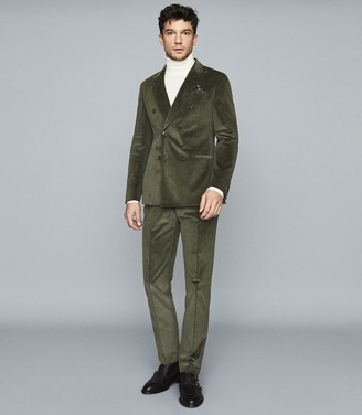 Reiss King - Double Breasted Corduroy Blazer in Green