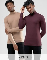 Asos Extreme Muscle Long Sleeve T-Shirt With Roll Neck 2 Pack