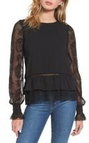 Moon River Women's Ruffle Hem Lace Sleeve Top