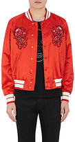 Alexander McQueen Men's Skull-Embroidered Satin Jacket