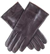 Black Chocolate Brown Leather Gloves with Tan Suede Cuff