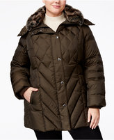 London Fog Plus Size Faux-Fur-Collar Puffer Coat