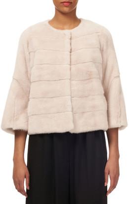 Gorski Short Nap Horizontal Mink Jacket w/ Bell-Sleeves