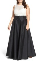 Adrianna Papell Plus Size Women's Embellished Colorblock Gown