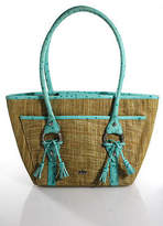 Elaine Turner Designs Teal Beige Straw Leather Sahoulder Handbag