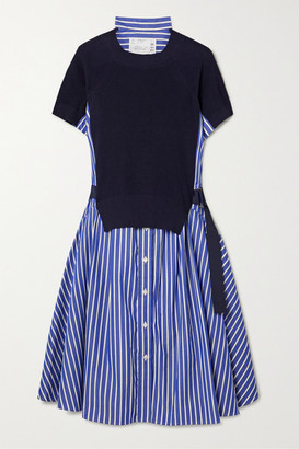Sacai Buckled Paneled Striped Cotton-poplin And Ribbed-knit Dress - Navy
