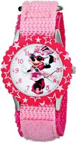 Disney Kids' Minnie Mouse Stainless Steel and Pink Nylon Strap, W001575, Analog Display, Pink Watch