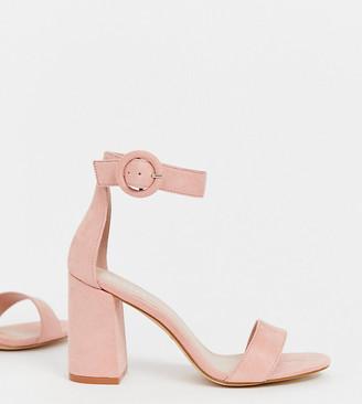 Raid Wide Fit RAID Wide Fit Genna blush block heeled sandals-Beige