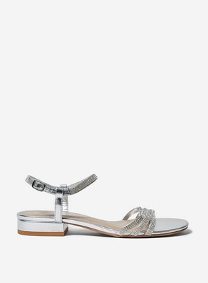 Dorothy Perkins Womens Wide Fit Silver 'Soo' Heeled Sandals, Silver