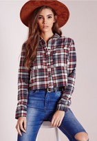 Missguided Cropped Check Shirt Red