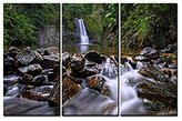 Tanda Print Canvas 3 sets pictures of Forest Waterfall Rocks Paintings The Picture For Living Room Decoration,City Pictures Photo Prints On Canvas For Home
