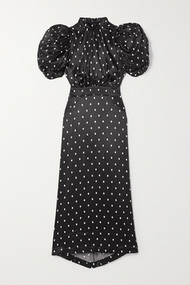 Rotate by Birger Christensen Dawn Open-back Polka-dot Satin Midi Dress - Black