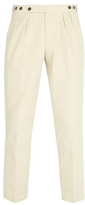 Massimo Alba Pleated Cotton Trousers - Mens - Beige
