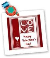 3dRose LLC qs_37076_4 Beverly Turner Valentine Design - Love, Heart Flower, Happy Valentines Day - Quilt Squares