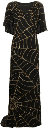 Moschino Spider Webs sequined draped dress