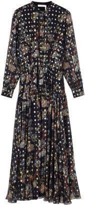Chloé Navy Printed Silk-chiffon Dress