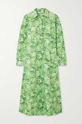 Ganni Floral-print Cotton-poplin Midi Shirt Dress - Light green