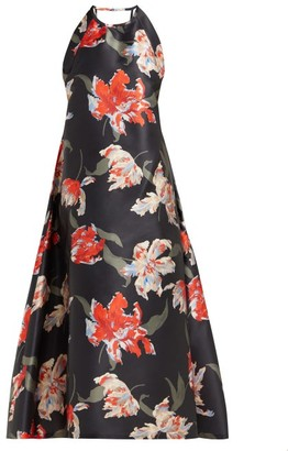 Rochas Tulip-print Halterneck Duchess Satin Dress - Womens - Black
