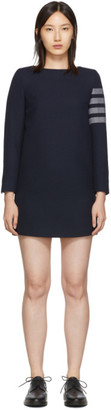 Thom Browne Navy Mini Shift 4-Bar Long Sleeve Dress