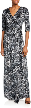 Melissa Masse Leopard Crushed Knit Velvet Long Wrap Dress