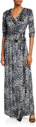 Melissa Masse Leopard Crushed Knit Velvet Long Wrap Dress