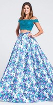 Ellie Wilde for Mon Cheri Off the Shoulder Lace Floral Two Piece Prom Dress