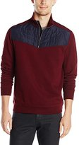 Calvin Klein Men's Long Sleeve Q-Zip Mix Media Pique Fleece Mock Neck