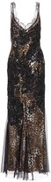 Amen Leopard-Print Embroidered Sleeveless Maxi Dress