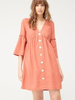 Very Linen Button Through Tunic - Red