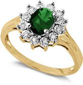 Macy's 10k Gold Ring, Emerald (7/8 ct. t.w.) and White Diamond Accent Oval Ring