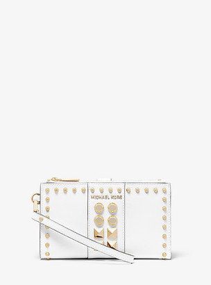 MICHAEL Michael Kors MK Adele Studded Saffiano Leather Smartphone Wallet - Optic White - Michael Kors