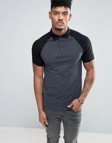 Asos Muscle Polo With Contrast Raglan Sleeves In Grey/Black