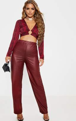 PrettyLittleThing Petite Burgundy Wide Leg PU Trousers