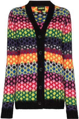 AGR Stripe Diamond Pattern Knitted Cardigan