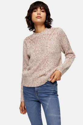 Topshop Womens Knitted Frill Neck Jumper - Ivory