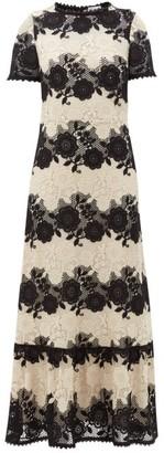 RED Valentino Bi-colour Floral-macrame Dress - Black White