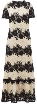 RED Valentino Two Tone Floral-macrame Dress - Womens - Black White
