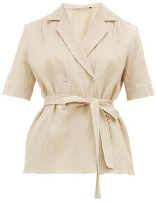 Emilia Wickstead Eudora Belted Cotton-blend Seersucker Blouse - Womens - Beige