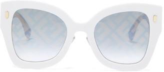 Fendi Ff-print Oversized Cat-eye Acetate Sunglasses - Ivory