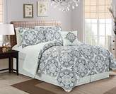 Chezmoi Collection 5pc REVERSIBLE Multi-Color Mandala Medallion and Quatrefoil Bedding Comforter Set (King, Black)