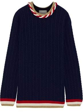 Gucci Metallic-trimmed Cable-knit Wool And Cashmere-blend Sweater