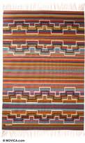 Wool rug (4x6), 'Rainbow Hills'