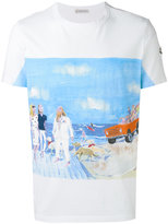 Moncler beach scene print and embroidery T-shirt