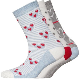 Lovestruck Womens Three Pack Socks Heart Blue