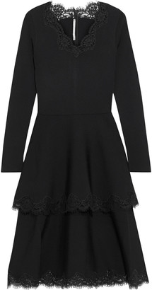 Stella McCartney Tiered Lace-trimmed Ponte Dress