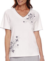 Alfred Dunner St. Augustine Short-Sleeve Floral Embroidery Top