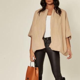 Jovonna London Charleen Jacket Oversized Collarless Beige - ONESIZE