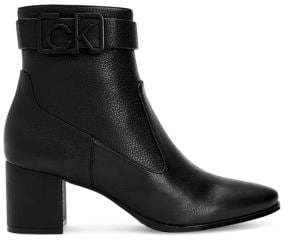 Calvin Klein Leather Buckled Booties