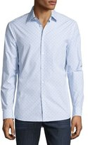 Michael Kors Watson Diamond-Print Mouline Long-Sleeve Sport Shirt